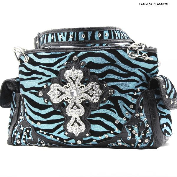 NEW-NFZ-LCR-133-BLUE - RHINESTONE CROSS HANDBAGS CONCEALED WEAPON PURSES