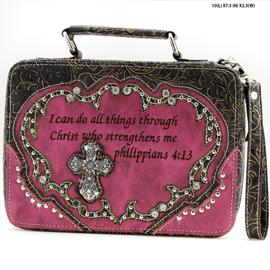 BI-221-PINK - WHOLESALE BIBLE COVERS/ RHIENSTONE CROSS BIBE CASES