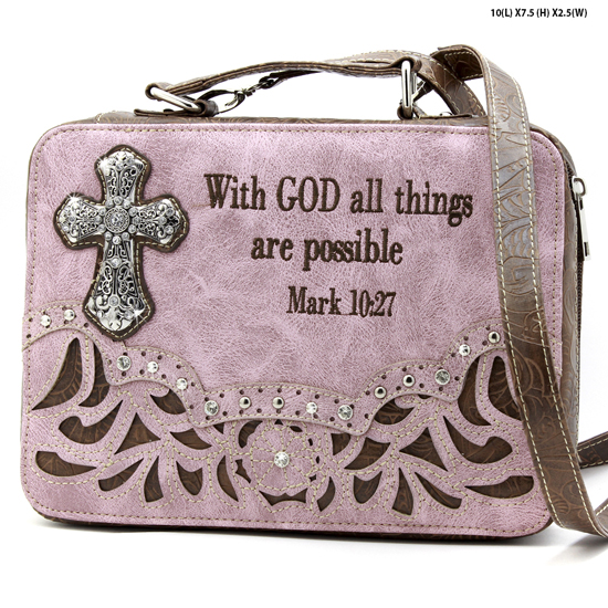 ALL-13502--PINK - WHOLESALE BIBLE COVERS/ RHIENSTONE CROSS BIBE CASES