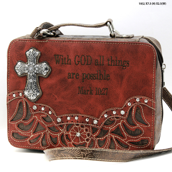 ALL-13502--RED - WHOLESALE BIBLE COVERS/ RHIENSTONE CROSS BIBE CASES