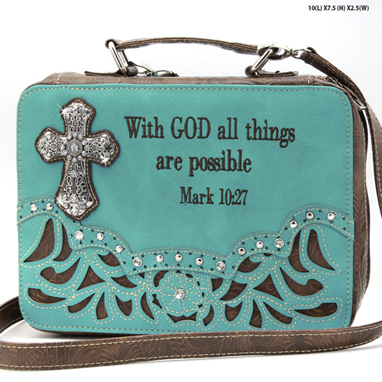 ALL-13502--TURQ - WHOLESALE BIBLE COVERS/ RHIENSTONE CROSS BIBE CASES