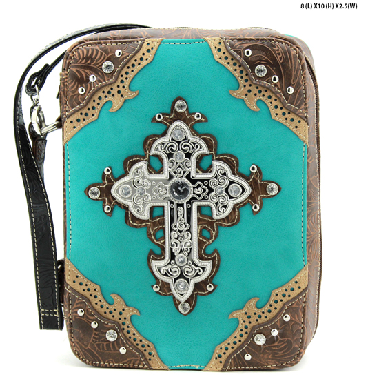 W39-13502-TURQ - WHOLESALE BIBLE COVERS/ RHIENSTONE CROSS BIBE CASES