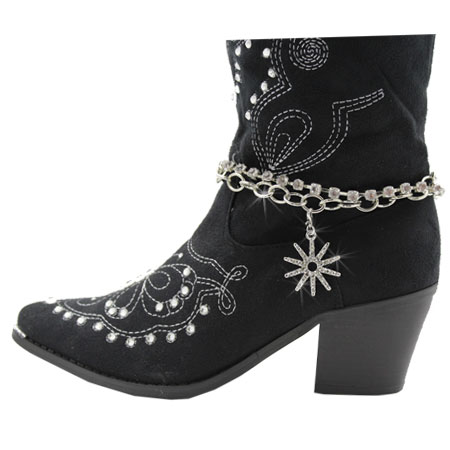 BOOT-CHAIN--SPUR - WHOLESALE WESTERN CRYSTAL STUDDED BOOT CHAIN