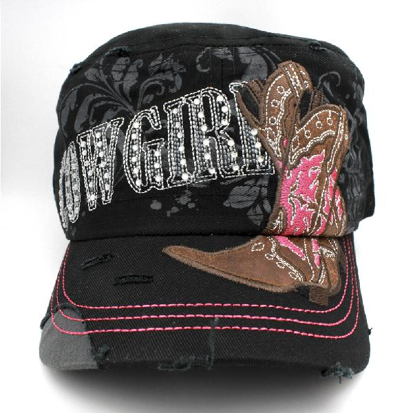 CAD-NEW--COWGIRL-BLACK - WHOLESALE RHINESTONE CADET STYLE CAPS