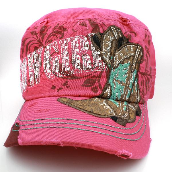CAD-NEW--COWGIRL-PINK - WHOLESALE RHINESTONE CADET STYLE CAPS