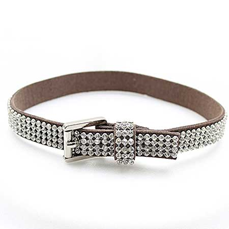 BOOT-STRAP-BROWN - WHOLESALE WESTERN CRYSTAL STUDDED BOOT CHAIN