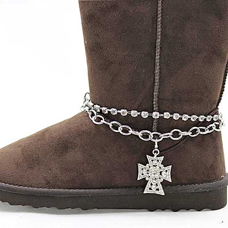 BOOT-CHAIN--CROSS - WHOLESALE WESTERN CRYSTAL STUDDED BOOT CHAIN