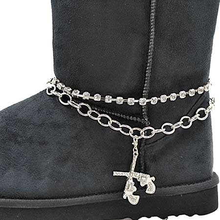 BOOT-CHAIN--GNS - WHOLESALE WESTERN CRYSTAL STUDDED BOOT CHAIN