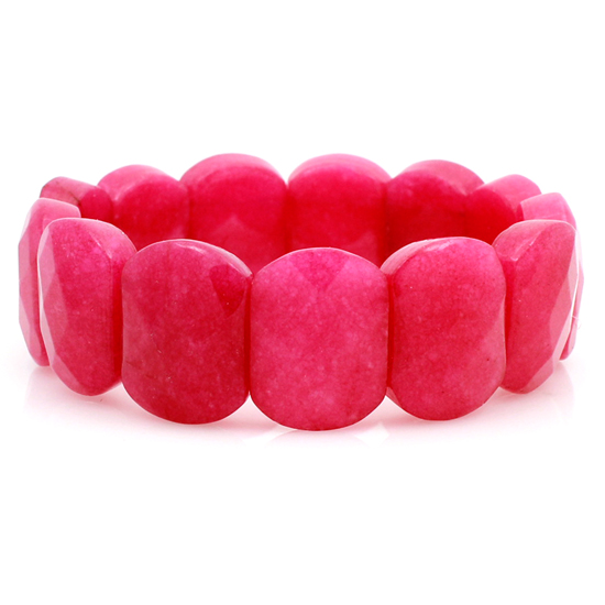 BRC-08-PINK - HIGH END DESIGNER STYLE GENUINE STONE STRETCH BRACELETS