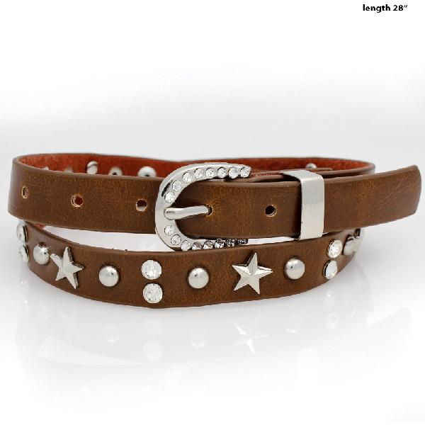 HAT-BAND-STAR-BROWN - NEW WESTERN RHINESTONE HAT BANDS