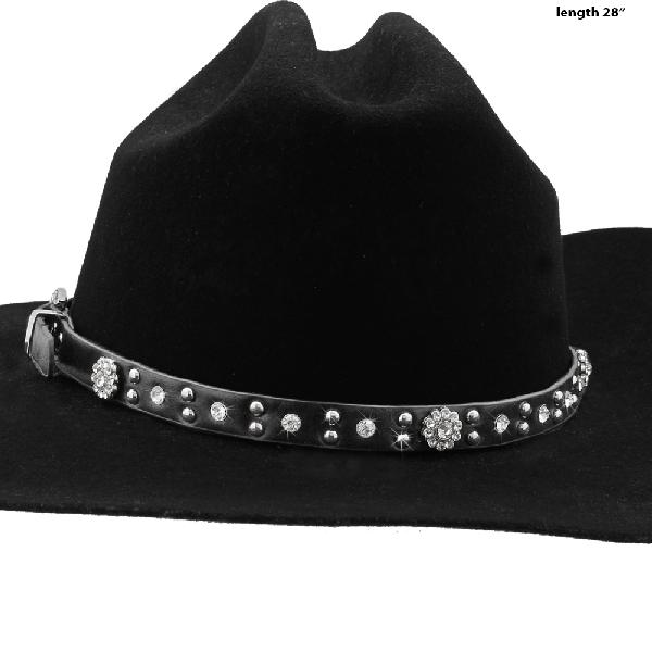 HAT-BAND-CONCHO-BLK - NEW WESTERN RHINESTONE HAT BANDS