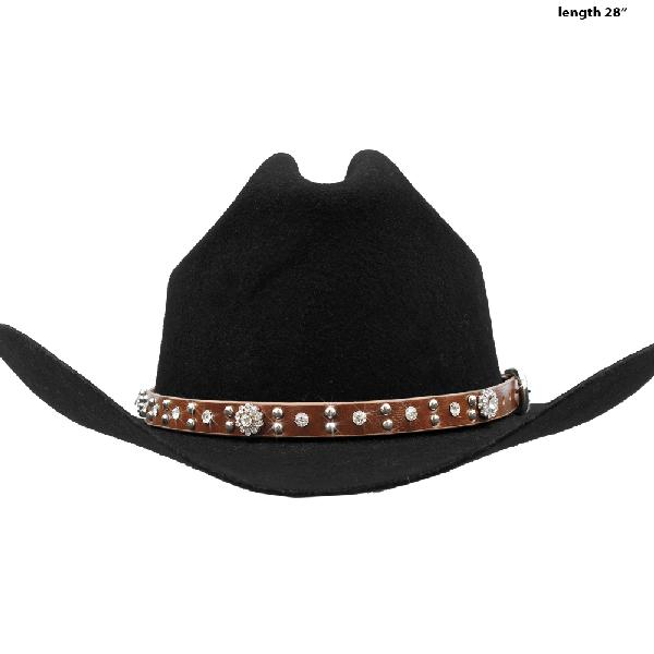 HAT-BAND-CONCHO-BROWN - NEW WESTERN RHINESTONE HAT BANDS