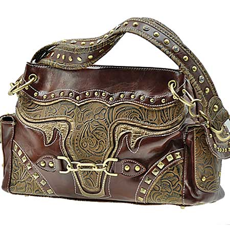 BUL-847-BROWN -  WESTERN HANDBAGS