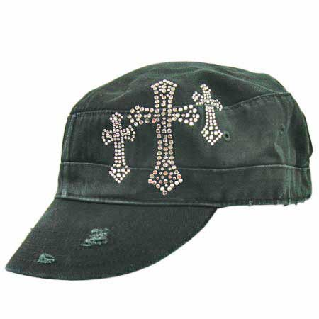 CAD/3-CROSS-BK - WHOLESALE RHINESTONE STUDDED CROSS CADET CAPS