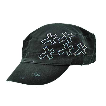 CAD-5-CR-BLACK - WHOLESALE RHINESTONE CADET CAPS/HATS