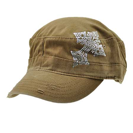 CAD/CR3-BROWN - WHOLESALE  RHINESTONE CADET  CROSS CAPS/HATS