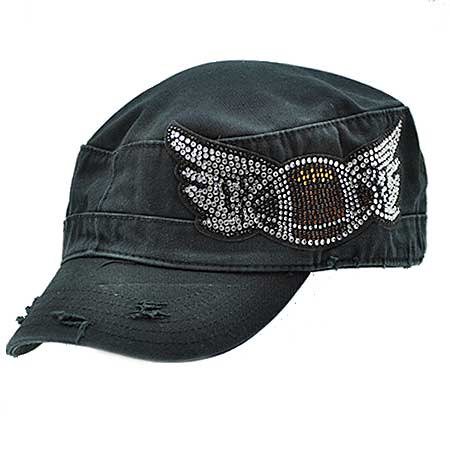 CADFT/BALL-WINGS - WHOLESALE RHINESTONE STUDDED SPORTS-CADET STYLE CAPS