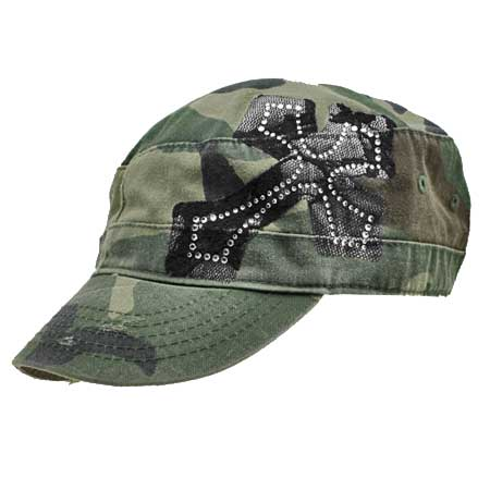 CAD-LACE-CAMO - WHOLESALE RHINESTONE CADET CAPS/HATS