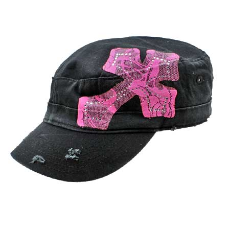 CAD-LACE-BK-PK - WHOLESALE RHINESTONE CADET CAPS/HATS
