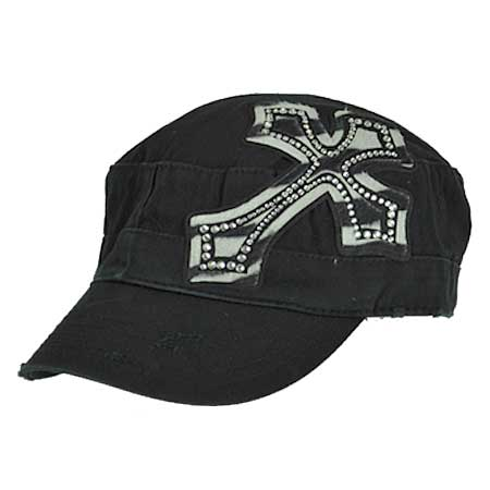 CAD/PATCH-ZEBRA - WHOLESALE RHINESTONE CROSS CADET STYLE CAPS