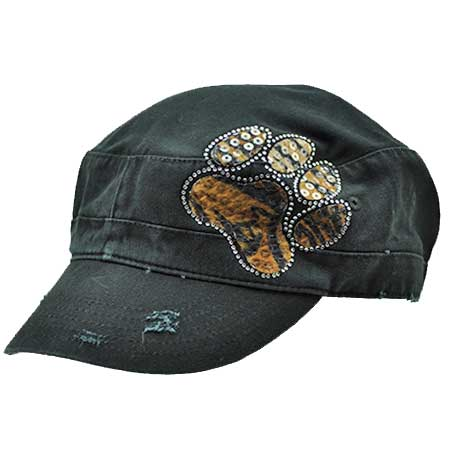 CAD-PAW-LEO-BROWN - WHOLESALE RHINESTONE CADET CAPS/HATS