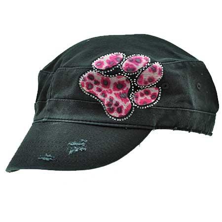CAD-PAW-LEO-PINK - WHOLESALE RHINESTONE CADET CAPS/HATS