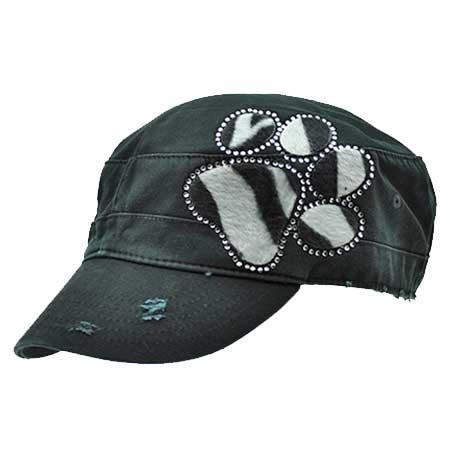 CAD-PAW-ZEBRA - WHOLESALE RHINESTONE CADET CAPS/HATS