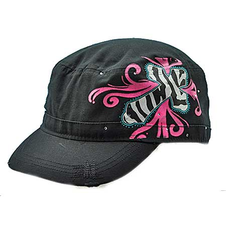 CAD-SCROLL-BK/PINK - WHOLESALE RHINESTONE CADET CAPS/HATS