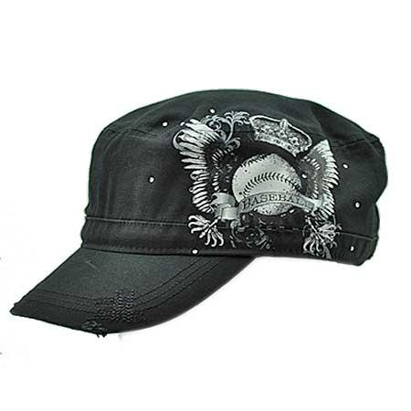 CAD-TAT-BBALL-CRWN - WHOLESALE RHINESTONE CADET CAPS/HATS