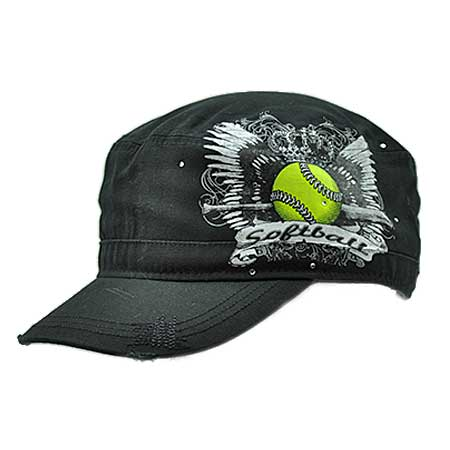 CAD-TAT-SOFTBALL - WHOLESALE RHINESTONE CADET CAPS/HATS