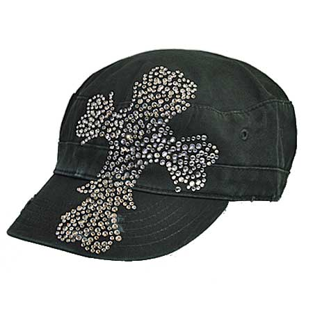 CAD-80-CLEAR - WHOLESALE RHINESTONE STUDDED CROSS CADET CAPS