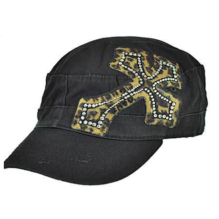 CAD/LEO-BROWN - WHOLESALE RHINESTONE CROSS CADET STYLE CAPS