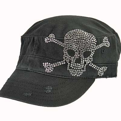 CAD-SKULL-BLACK - WHOLESALE RHINESTONE TATTOO/TATTOOED SKULL CADETS/CAPS