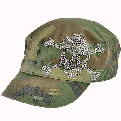 CAD-SKULL-CAMO - WHOLESALE SKULL AND BONES RHINESTONE CADET  CAPS/HATS