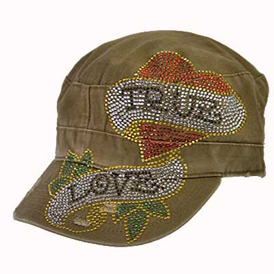 CADTRUEL BROWN - WHOLESALE RHINESTONE CROSS CAPS/CADET STYLE CAPS