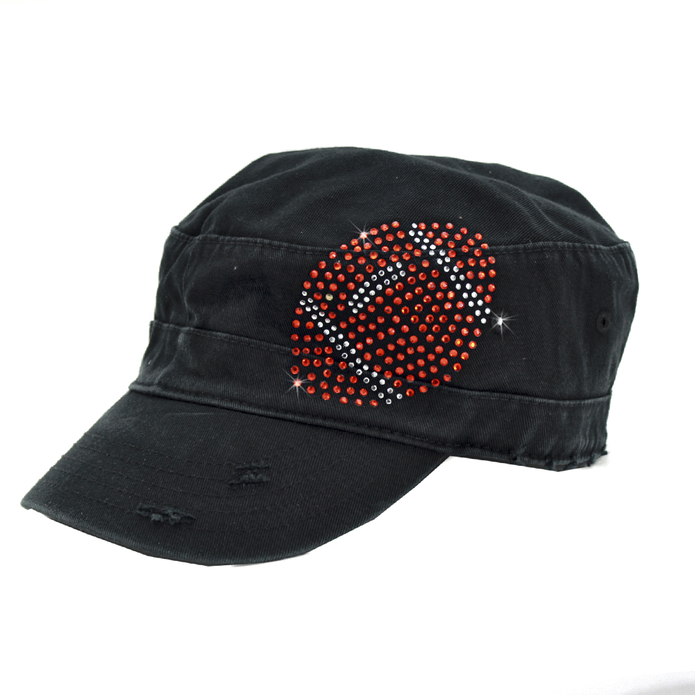CAD-FT-BALL-1 - CAD-FT-BALL-1 WHOLESALE RHINESTONE STUDDED CADET CAPS