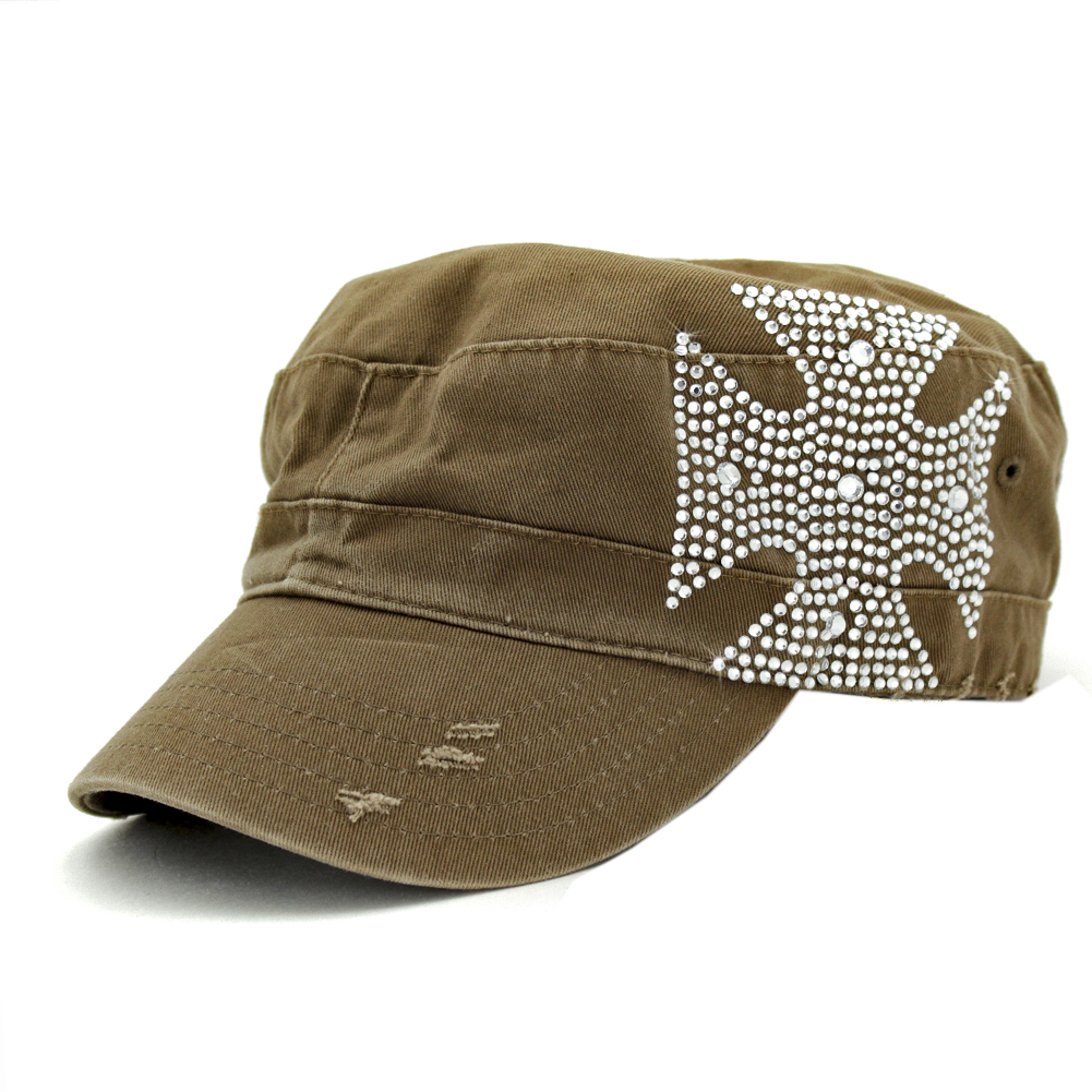 CAD-CHOP-BROWN - CAD-CHOP-BROWN WHOLESALE COWGIRL RHINESTONE CADET CAPS/HATS
