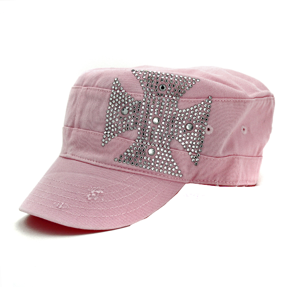 CAD-CHOP-PINK - CAD-CHOP-PINK WHOLESALE COWGIRL RHINESTONE CADET CAPS/HATS
