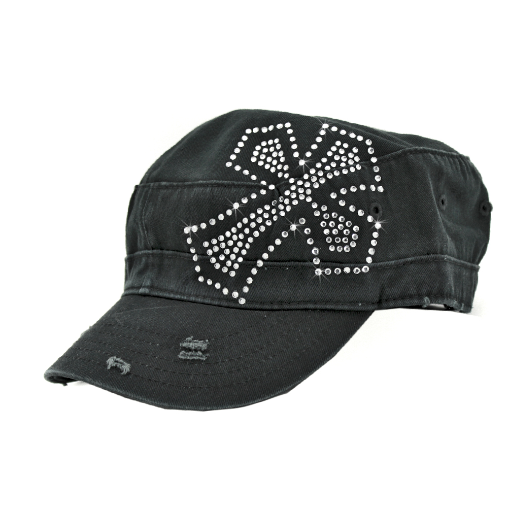 CAD-CR-20-BLK - CAD-CR-20-BLK WHOLESALE RHINESTONE STUDDED CADET CAPS
