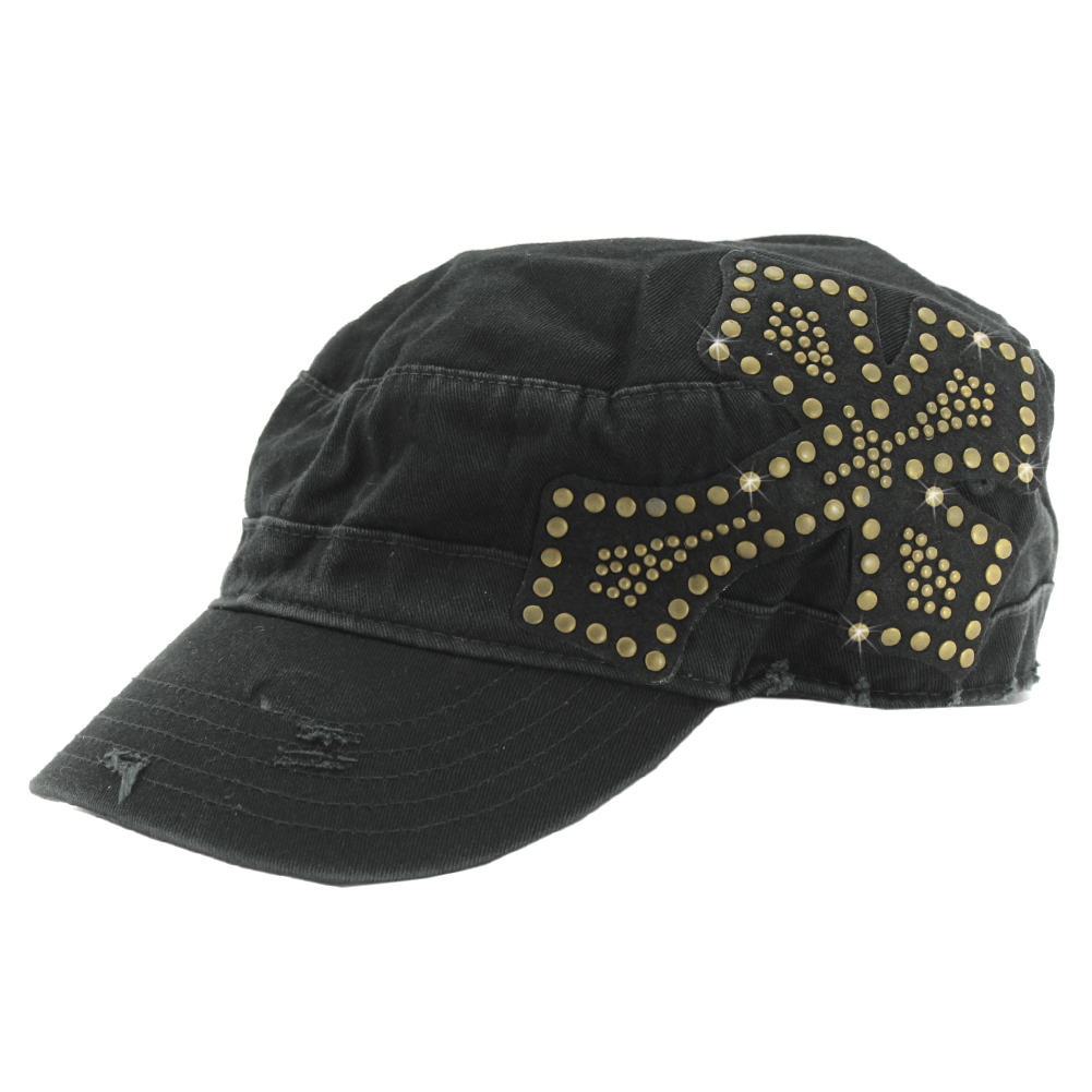 CAD-CR-STD-BZ - CAD-CR-STD-BZ WHOLESALE RHINESTONE STUDDED CADET CAPS