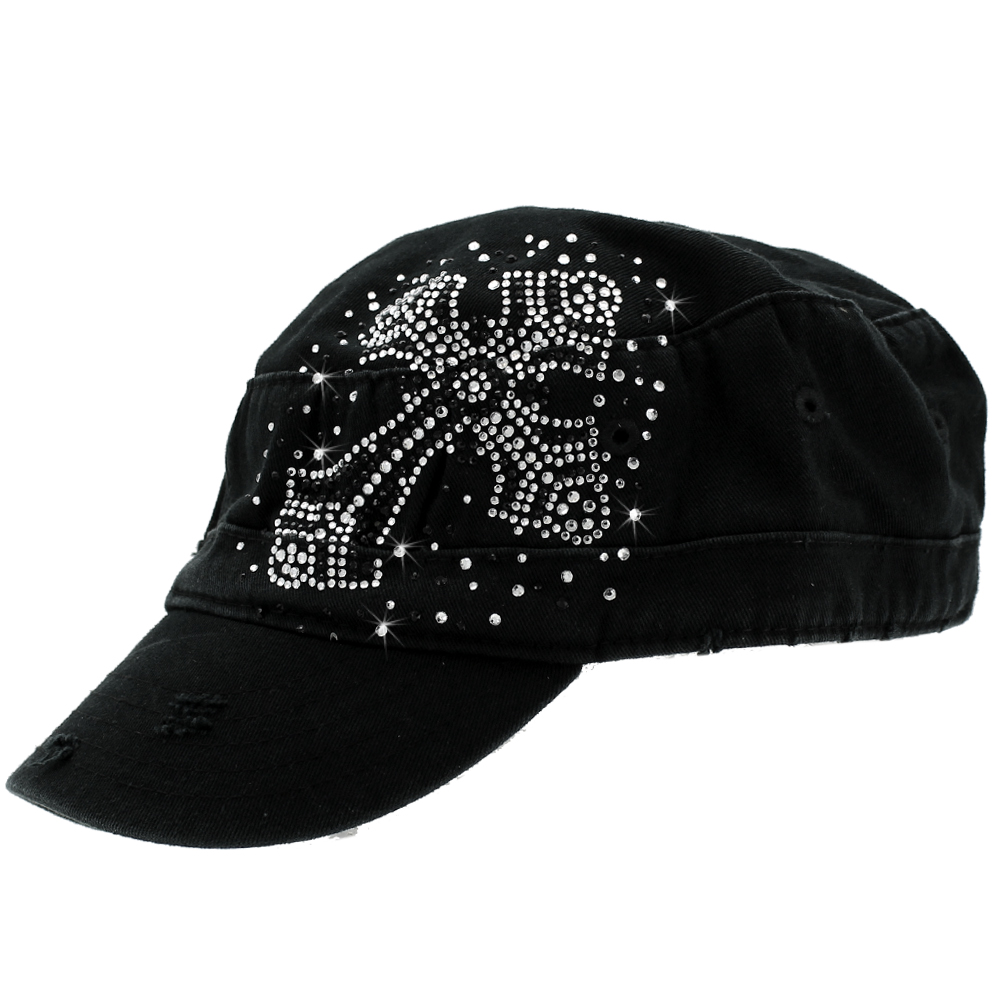CAD-CR-77-BLACK - CAD-CR-77-BLACK WHOLESALE RHINESTONE STUDDED CADET CAPS
