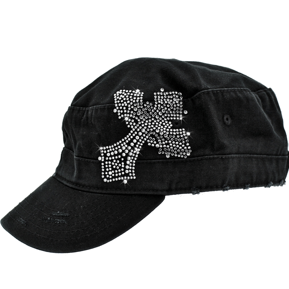 CAD-CR-16-BLACK - CAD-CR-16-BLACK WHOLESALE RHINESTONE STUDDED CADET CAPS