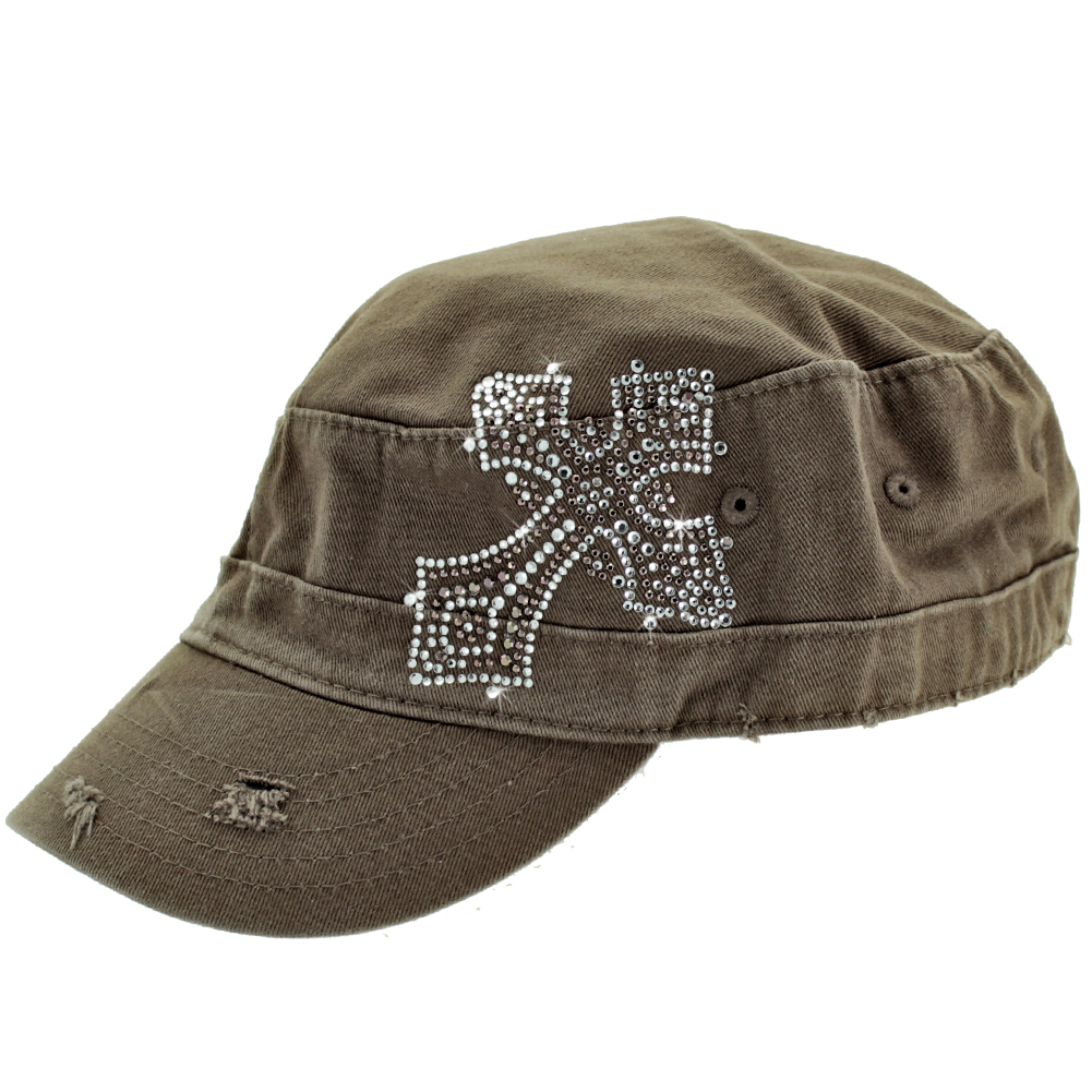 CAD-CR-16-BROWN - CAD-CR-16-BROWN WHOLESALE RHINESTONE STUDDED CADET CAPS