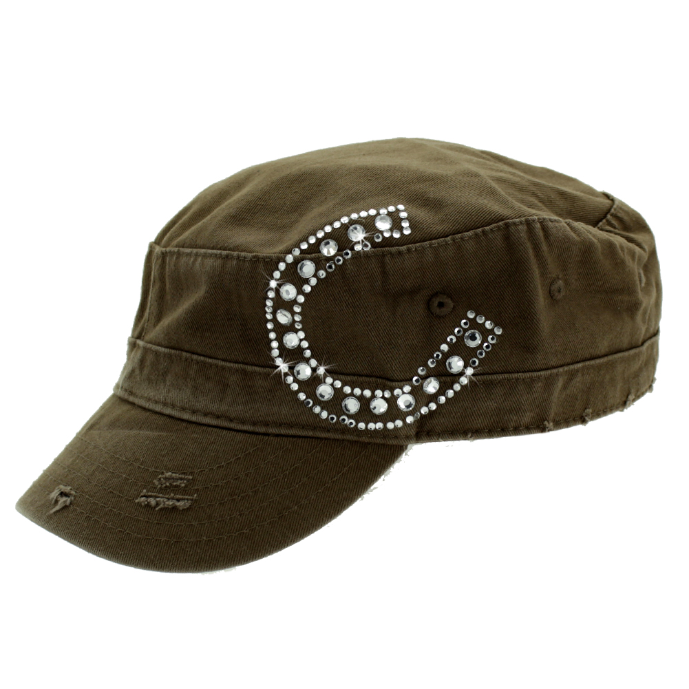 CAD-HSHOE-BROWN - CAD-HSHOE-BROWN WHOLESALE RHINESTONE STUDDED CADET CAPS