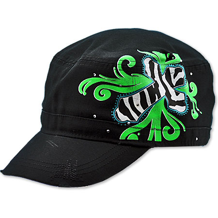 CAD-SCROLL-BK/GREEN - WHOLESALE RHINESTONE CADET CAPS/HATS