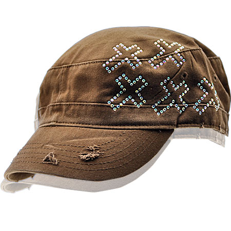 CAD-5-CR-BROWN - WHOLESALE RHINESTONE CADET CAPS/HATS