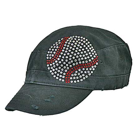 CAD-BASEBALL - WHOLESALE RHINESTONE STUDDED SPORTS-CADET STYLE CAPS
