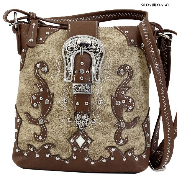 CFC-4699--NATURAL - WESTERN RHINESTONE STUDDED HIPSTER MESSENGER HANDBAGS