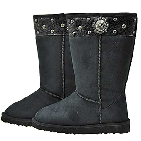 CONCHO-BOOTS--BLACK - WHOLESALE RHINESTONE BOOTS
