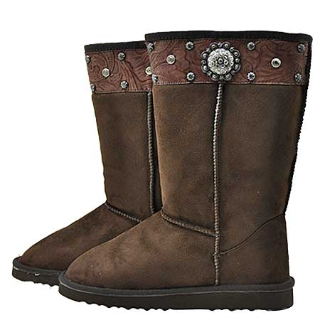 CONCHO-BOOTS--COFFEE - WHOLESALE RHINESTONE BOOTS